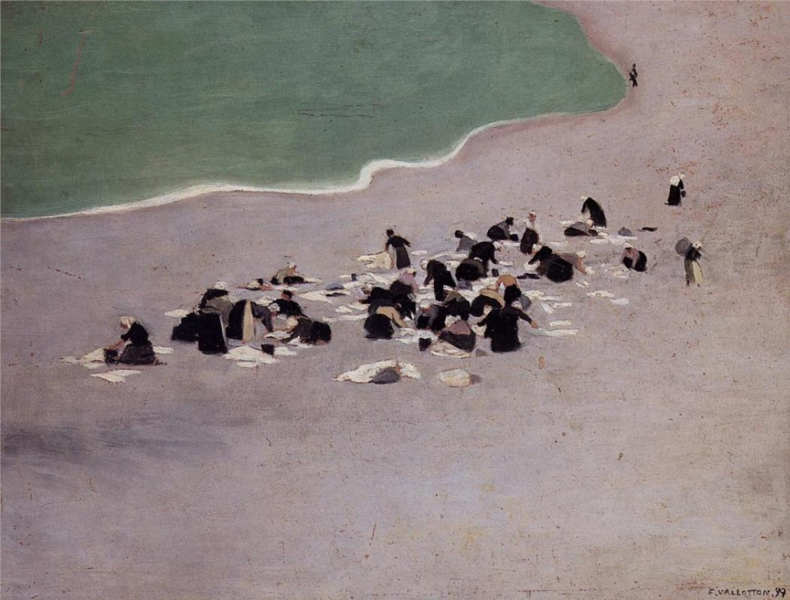 felix valloton - Women Drying Laundry on the Beach 1899