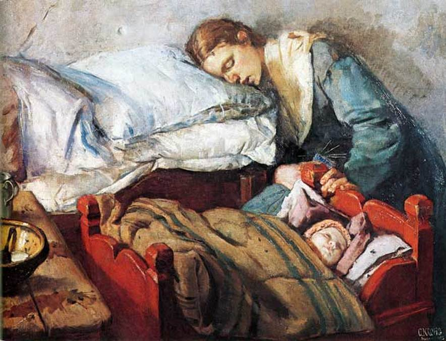 christian krohg - sleeping mother and child